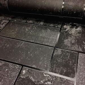 Détails sur Lavable Noir gris paillettes Carrelage Ardoise Effet Pierre  cuisine salle de bain papier peint- afficher le titre d\'origine