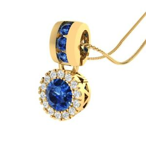 0-65-Ct-Round-Blue-and-White-Sapphire-14k-Yellow-Gold-GP-Halo-Pendant-Necklace