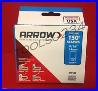 Genuine Arrow Staples T50 9/16 1,250 Box 509 Free Usa Shipping