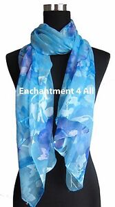 """New Stunning 60""""x20"""" 100% Pure Silk Floral Sheer Scarf Shawl Wrap, Baby Blue"""