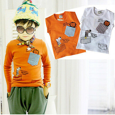 Long Sleeve Cute Cartoon Lion Zebra Kids Boys T-shirt Tops Clothing 1-7Year UK