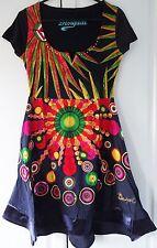 New Desigual Ladies Dress,Half Sleeve, Black&Multi, Size M