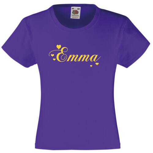 Personalised child/'s T-shirt name summer hearts pretty girls holidays