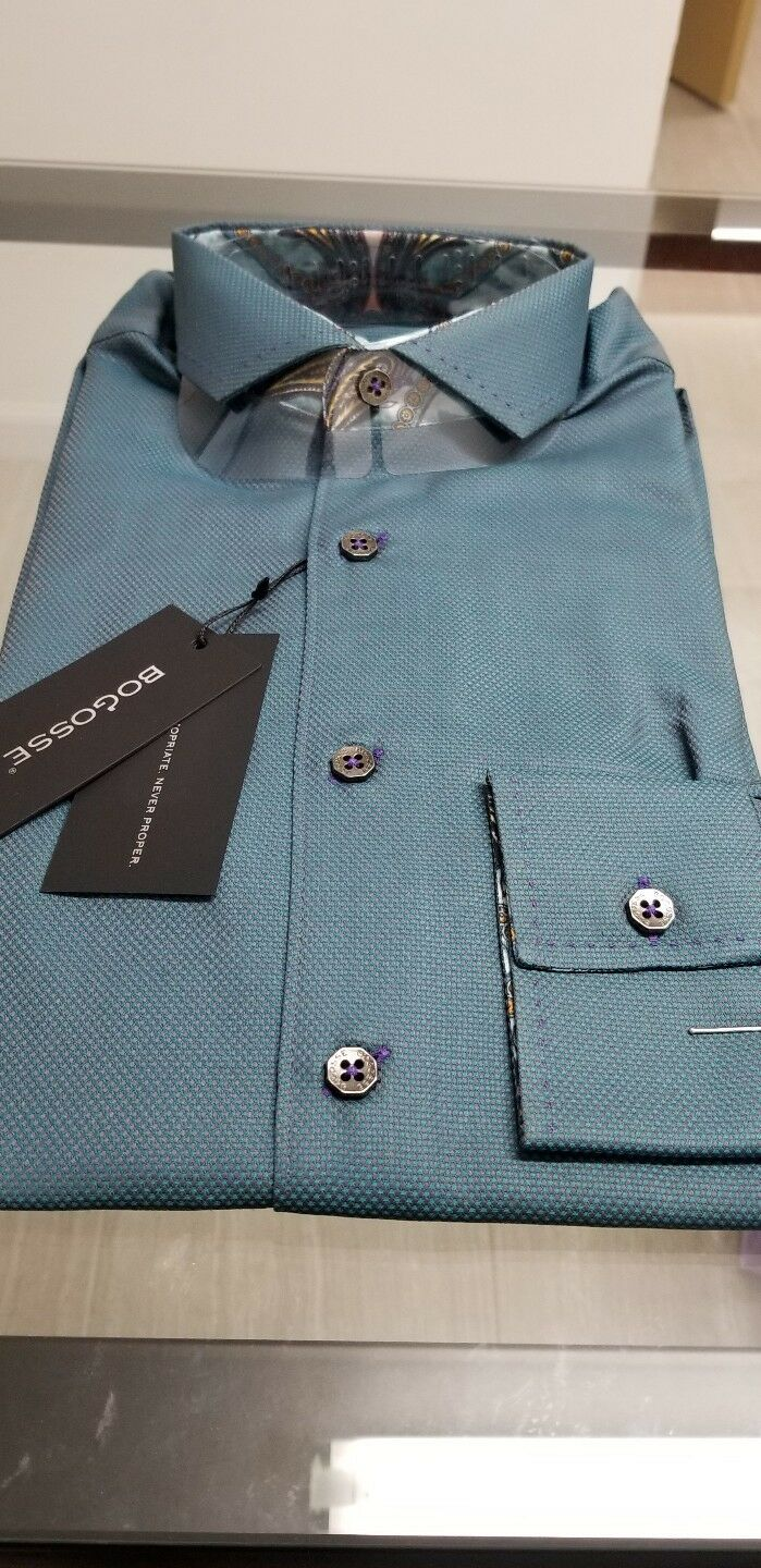 NEW Bogosse Men's size 2 or Small long sleeve button down shirt, sleek  STYLE