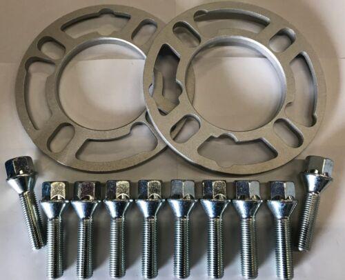 2 X 7 mm Aleación Rueda Espaciadores Cuñas M12X1.5 Plata Tornillos Opel 5X110 M12