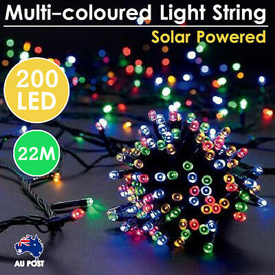 Solar Powered 200 LED 22M Bright Multi-coloured Light String Party Decoration
