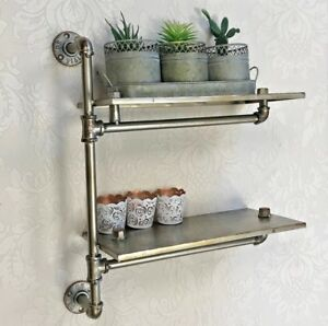 silver metal industrial pipe wall shelf shelves warehouse style rh ebay com  brushed silver wall shelves