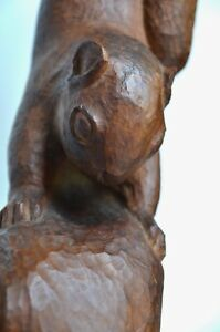 Antique-American-Folk-Art-Wood-Squirrel-on-Branch