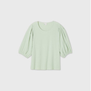WOMEN-039-S-PLUS-SIZE-PUFF-3-4-SLEEVE-SCOOP-NECK-TOP-AVA-amp-VIV-MINT-3X-NEW-W-TAGS