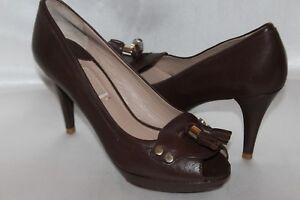 fbc550c2236 Details about UTERQUE Zara Brown Leather Double Tassel Peep Toe Platform  Heels Pumps EU40