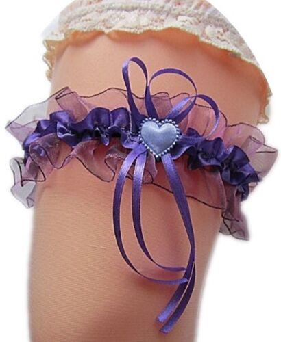Süßer Strumpfband Braut flieder lila Herzchen Schleifen Hochzeit Kostüm Neu EU