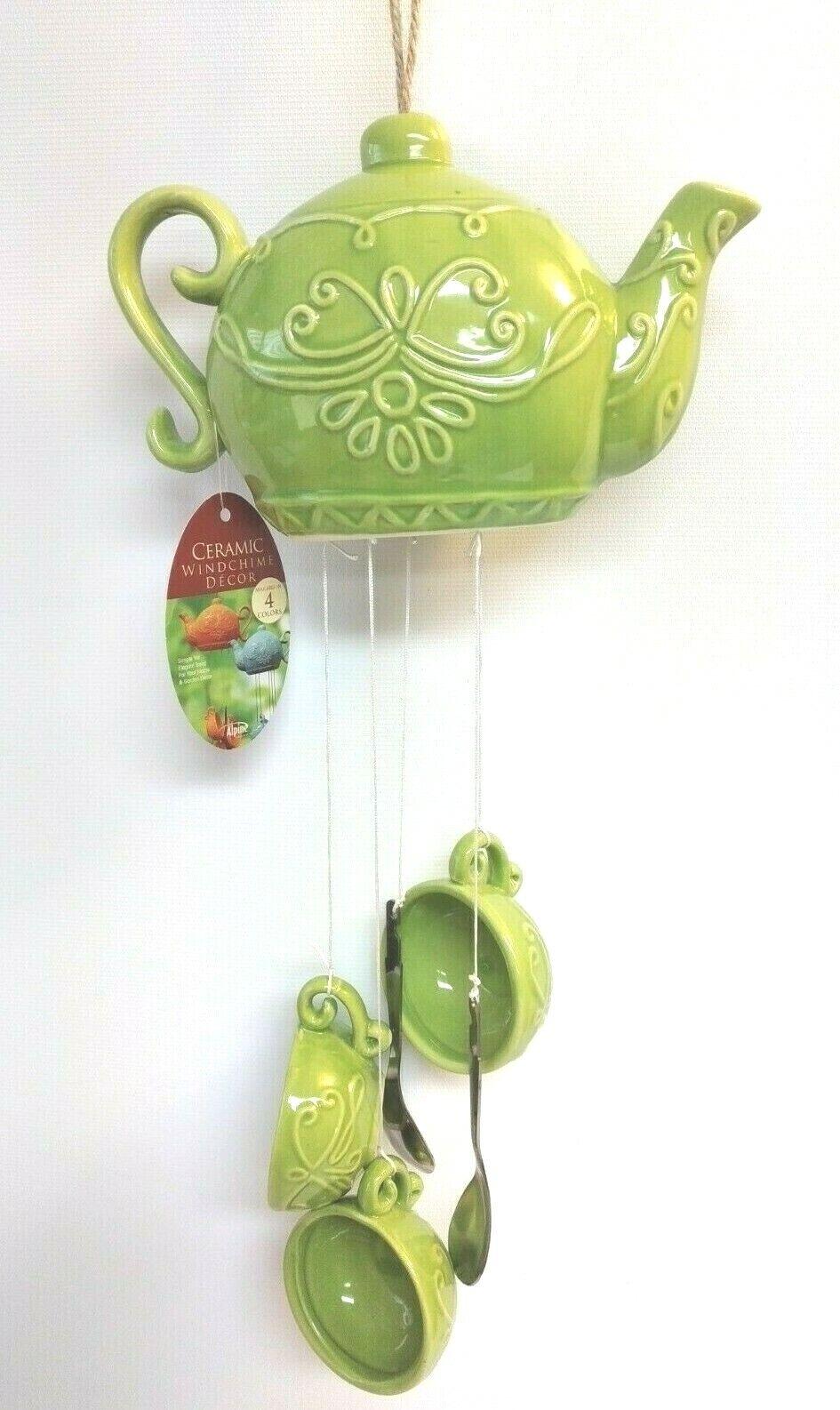Ceramic Teapot Cup Wind Chime Indoor Outdoor Hanging Decoration Green Alpine