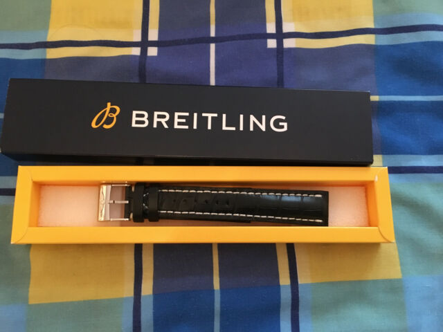 Breitling Black Croco Strap 744P 22-20 22mm with Polished Deployant Clasp A20D.1