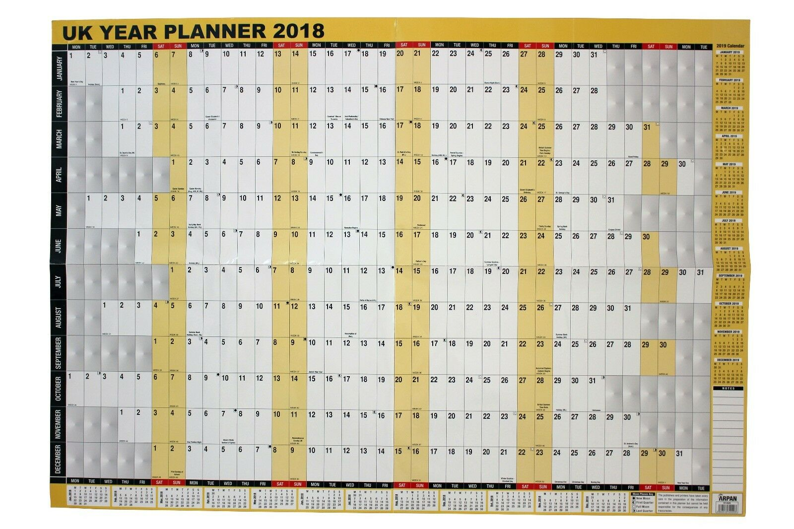 A1 Large 2018 Year Wall Planner for Home/office work ...