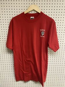Vintage-University-of-Indiana-Hoosiers-Red-Embroidered-Logo-T-shirt-Size-L