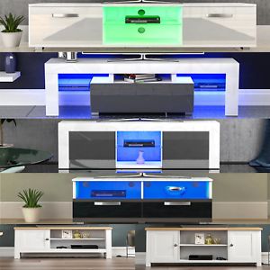 Modern White TV Stand Cabinet LED Unit Matt body and High Gloss Doors  Lights