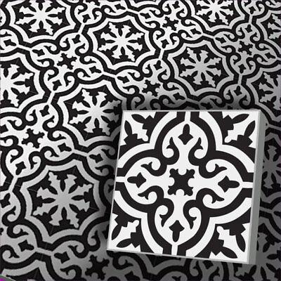 1e Zementfliese Orientalische Fliese Iraquia Weiß Schwarz Bodendekorplatten Bunt Ebay