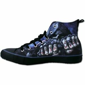 Spiral-Direct-Men-039-s-Game-Over-Skeleton-Gothic-Reaper-High-Top-Lace-Up-Sneakers