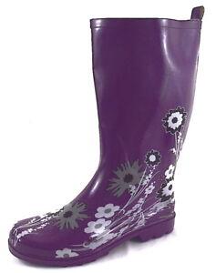 Damen-Gummistiefel-Regenstiefel-Stiefel-Lila-mit-Blumen-Gr-41