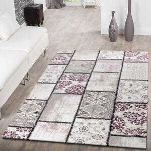 moderner kurzflor teppich patchwork shabby chic meliert pastell in lila creme ebay. Black Bedroom Furniture Sets. Home Design Ideas
