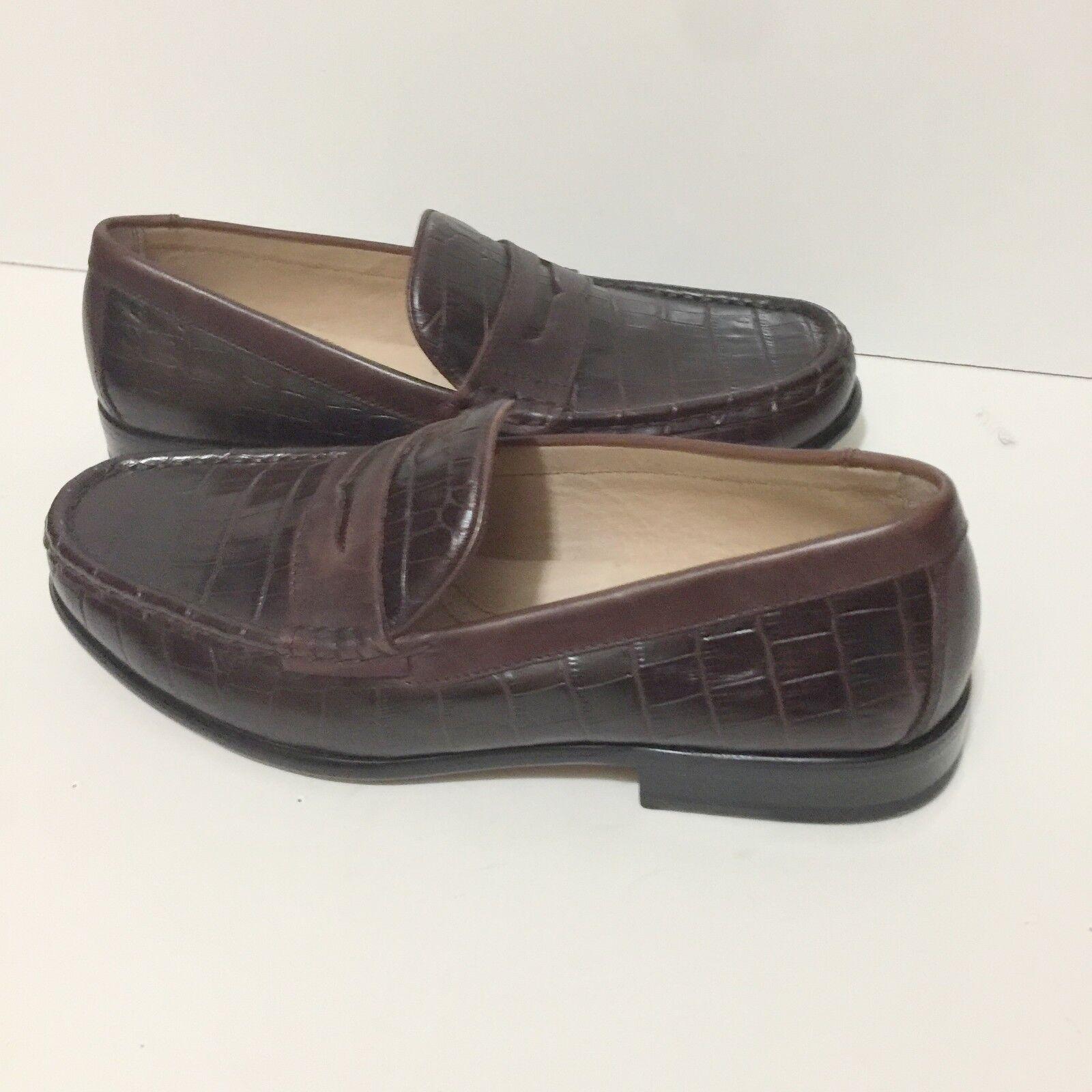 Domani Ballard Brown Croc Penny Loafers 9