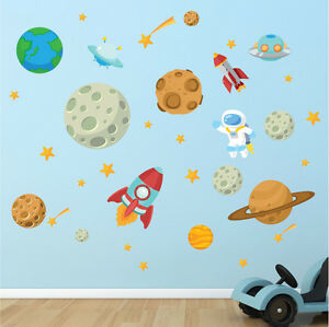 Image Is Loading Space Astronaut Stars Planets Nursery Kids Bedroom Vinyl  Part 46