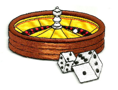 ROULETTE WHEEL /& DICE EMBROIDERED IRON ON APPLIQUE