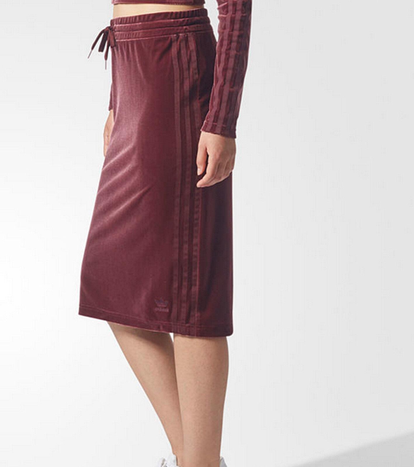 Adidas Originals Velvet Vibes Donna skirt Maroon 3 stripes trefoil sports 12 14