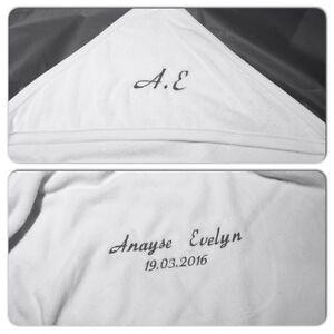 Personalised embroidered baby towel initials namedob newborn image is loading personalised embroidered baby towel initials name dob newborn negle Gallery