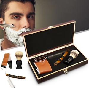 440C-Straight-Razor-Steel-Cut-Throat-Shaving-Brush-Strop-Wooden-Box-Gift-Set
