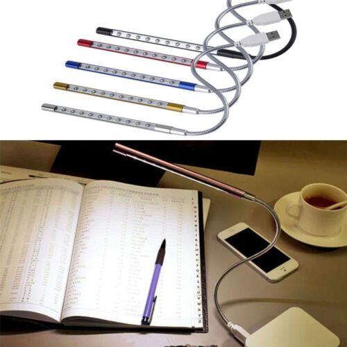 1Pc 10 LED USB Keyboard Night Light Flexible Lamp for Reading Notebook Laptop