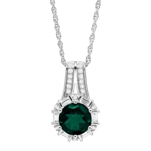 2 1//2 Ct Crée Emerald /& White Sapphire Pendentif en argent sterling