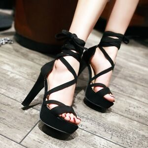 Women-Suede-Stiletto-Strappy-Sandals-Lace-Up-Lady-Platform-High-Heels-Shoes-New