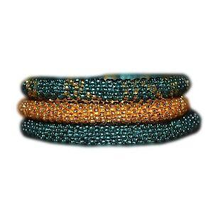 Green-and-Gold-Handmade-Bracelets-Set-Seed-Beads-Nepal-BS109-Nepal-roll-on
