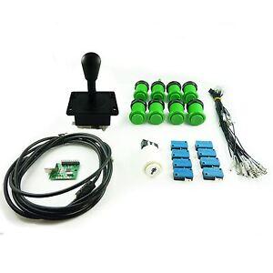 Kit Joystick Arcade 1 joueur  Poire  Boutons Americains Creux Vert Mame USB