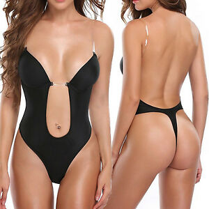 e1b5875c99 Image is loading Backless-Bra-Full-Body-Shaper-Thong-Convertible-Seamless-