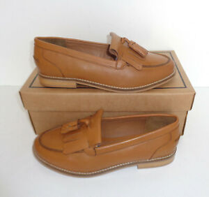 Leather Ladies Tan Wide Fit Shoes Slip