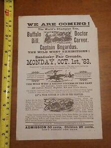 BUFFALO BILL 1883 DOCTOR CARVER CAPTAIN BOGARDUS FAIR GROUNDS FLYER RARE