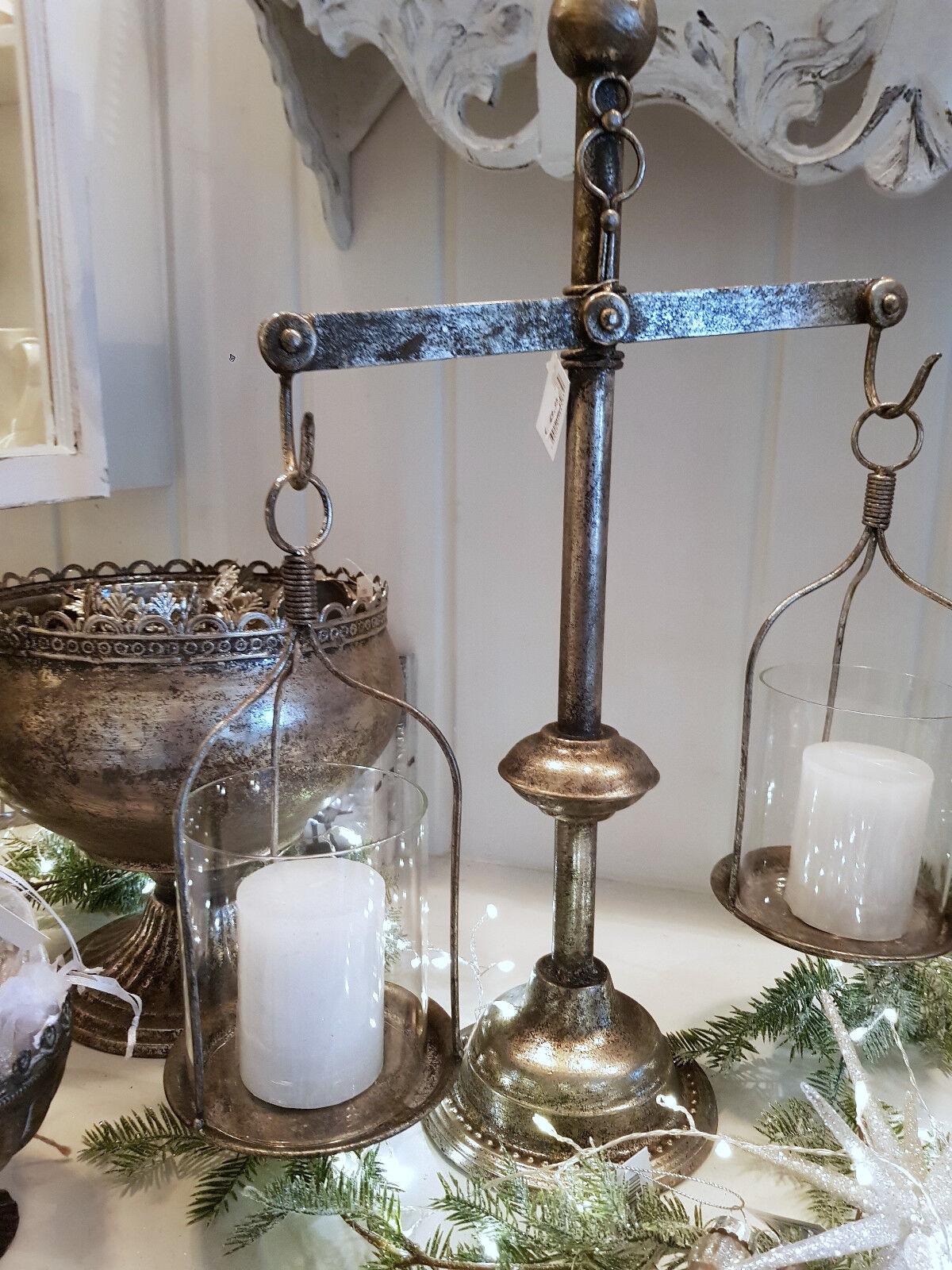 Windlicht Laterne Kerzenständer Metall Antiksilber Shabby Vintage Landhaus Landhaus Landhaus Deko fdc2ab