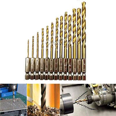 13 Pcs Drill Bit Set Titanium Coated HSS High Speed Steel Hex Shank Quick Change