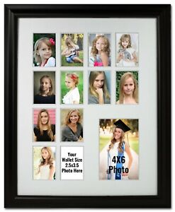 Black & White Collage Multi-Opening 12 Wallet and a 4x6 Photo Frame School Years