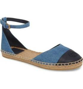 523c2a26a8e41 Details about New Tory Burch Denim Chambray Perfect Navy Ankle Strap  Espadrille Women 7m