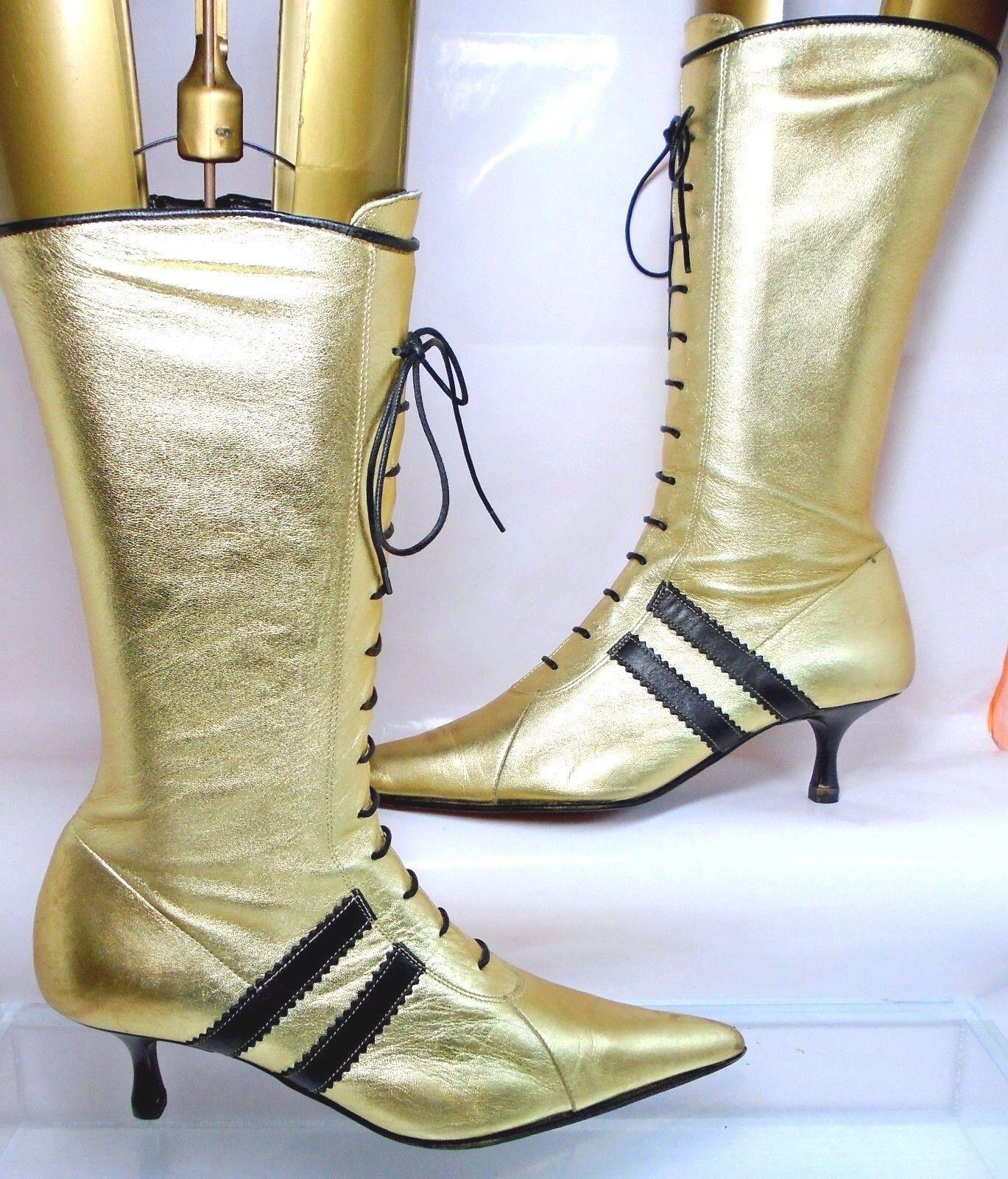 CAMMINA  Pointy Toe Zip Up Mid Calf Boots Kitten Heel Gold Leather US 5