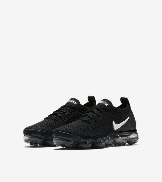 online store 04045 f4df2 Nike Air Vapormax Flyknit 2 Womens 942843-001 Black Silver Running Shoes  Size 5