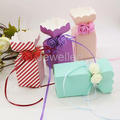 50pcs Rose Flowers Paper Candy Gift Boxes Wedding Party Favor Table Decoration