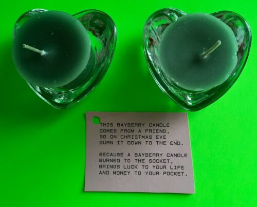 """Set of 2 Heart Shaped Glass Votive Candle Holder w// Bayberry Candle 2 3//4/""""  1/"""" T"""