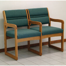 Wooden Mallet Valley Two Seat Chair w/Center Arms-Medium Oak- DW1-2MOFG Chair