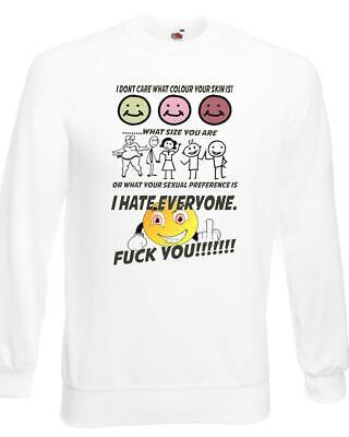 Unisex White I Hate Everyone F**k You Sweatshirt Jumper Gender Colour Size Delikatessen Von Allen Geliebt