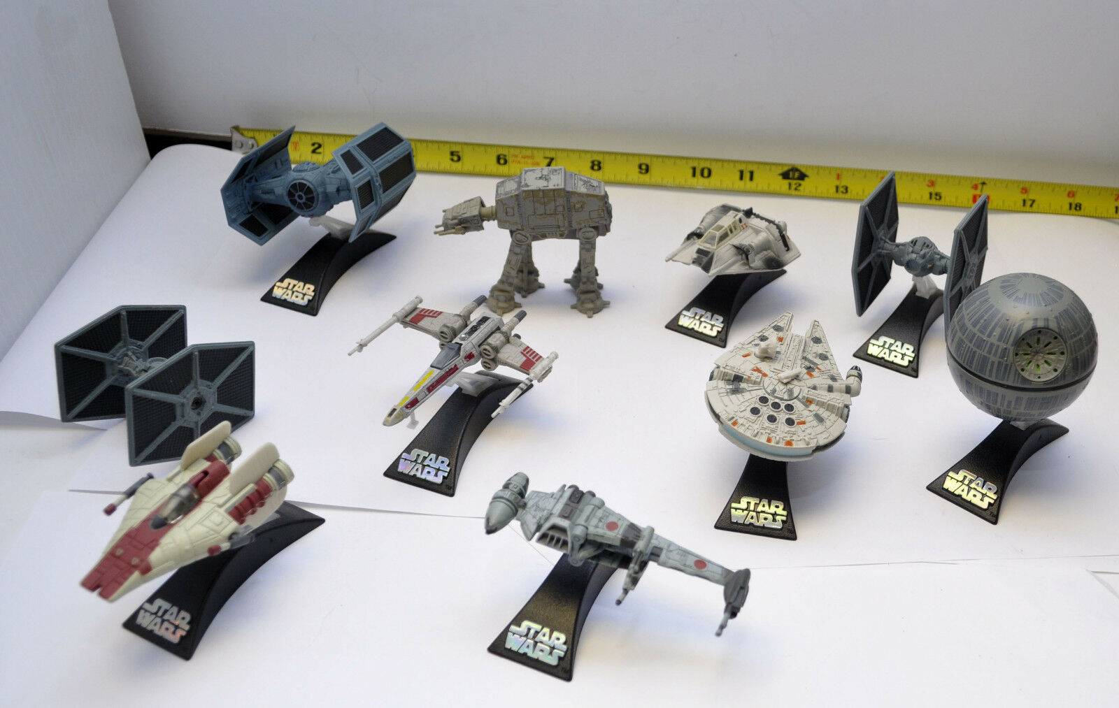10 Star Wars Die-Cast Mini Vehicles  Four X-Wing  Imperial AT-AT Falcon B-Wing +