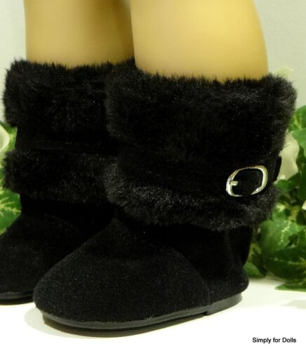 "BLACK Suede /& Furry Buckle DOLL BOOTS SHOES fits 18/"" AMERICAN GIRL Doll Clothes"